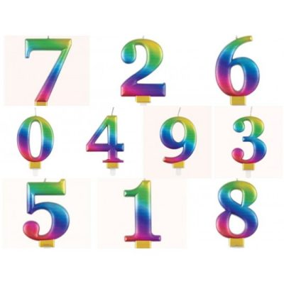 Numeral Candle Rainbow